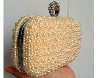 Pearl clutch, Evening clutch, Clutch,Blue clutch, Pearl accessories, Bridal clutch, Bridal purse,white clutch, Red clutch,Beige clutch