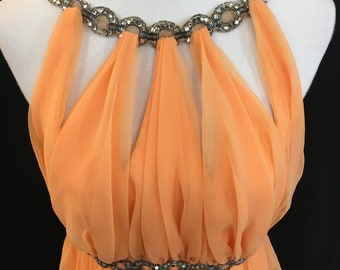 70's Mike Benet Formal Orange Sherbet Chiffon Gown