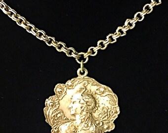 SALE Vintage art nouveau silver tone long cameo flower necklace