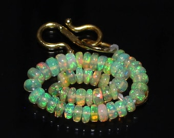 """40% Off Natural ETHIOPIAN OPAL, 3.5 - 4 mm Size, Smooth Roundel Beads, 3"""" Inches Long Strand, +++ AAA Quality Opal Beads Op#1349"""