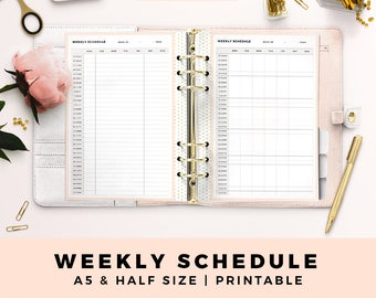 A5 HALF Size Printable Personal Planner Inserts, Weekly Schedule, Productive Planner