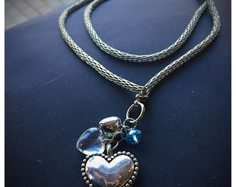 Sterling Silver Heart Pendant on a Silver Chain Necklace 36in. long