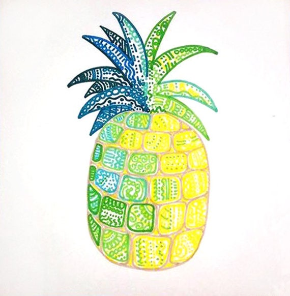 Ananas dessin color ananas decor tropical oeuvre tropical - Ananas dessin ...