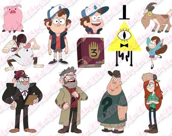 80% OFF SALE Gravity Falls Clipart, digital Clipart, mabel, dipper, stan, wendy, stanford, mystery shack, journal 3, Bill Cipher