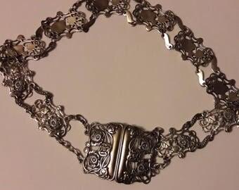 Edwardian 0.925 Silver nurses belt - each piece hallmarked - Marked H&A