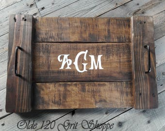 Rustic Wood Farmhouse Style, Country Style serving tray, Breakfast Tray, Rustic wood tray,Home Decor , Country Home decor, monogram tray