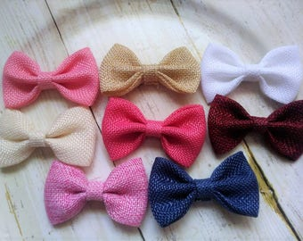 """Burlap Fabric Bows 2 & 3/4"""" Without Clips, Hair Bow, Bows For Hair accessories, wholesale"""