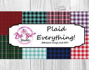 Plaid Print Patterned vinyl, Buffalo Blaid custom printed vinyl, adhesive vinyl, heat transfer vinyl, printed HTV flat / glitter OR ADHESIVE