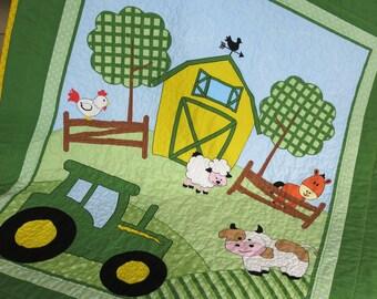 John Deere tractor quilt or blanket, Gender Neutral Quilt or Blanket, Handmade Quilt, Crib Quilt, Farm Quilt , Reversible Quilt, Lap Quilt