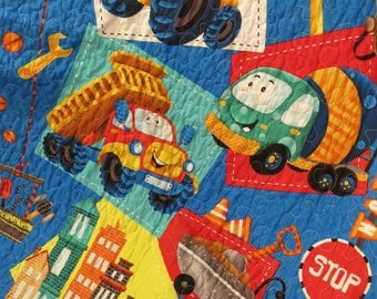 Let's Build Animated Construction Vehicles quilt, boy blanket, lap quilt, wall hanging, cement truck, dump truck, gravel truck reversible