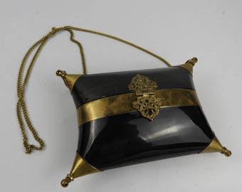 Vintage metal and shell/horn pillow evening bag/purse/clasp.