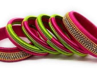 Silk Thread Bangle Set for Wedding / Party Wear