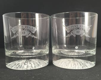 Set of 2 Chivas Regal Lowball Glasses Double Old Fashioned