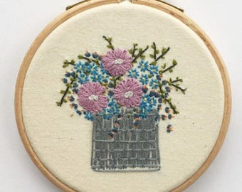 Floral Hoop, Hand Embroidery, Wall Decor, Small Embroidery Hoop