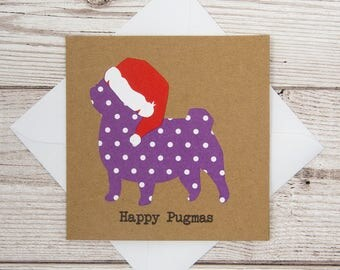 Happy Pugmas Christmas Card, Merry Christmas Card, Happy Christmas, Pug Christmas Card, Dog Christmas Card, 4x4 Brown Card, Happy Holidays