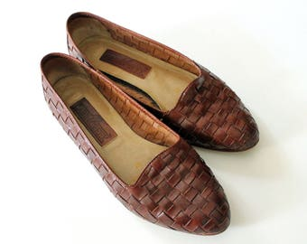 Tan Brown Cognac Woven Leather Loafers Flats Size 6 - 7 or EUR 37 - 38