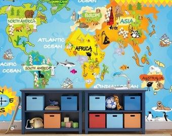 world map education, kids world map, Wallpaper kids world map, education map decal, world map wall mural, education wall , children map