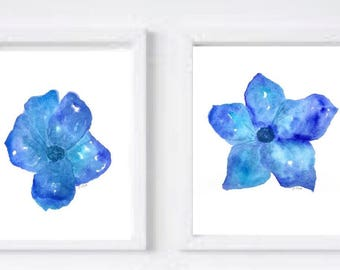 Blue Watercolor Flower Set, Original Watercolor floral, Botanical matching wall art, watercolor painting, home decor or nursery, wall art s