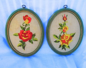 Pair of Vintage Framed Floral Needlework