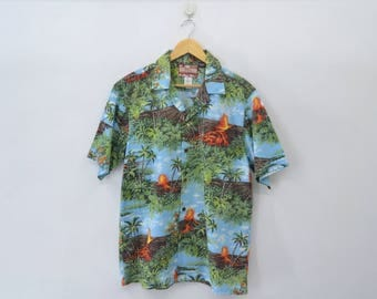 RJC Shirt Vintage 90's RJC Lava Volcano Theme All Over Print Made In Hawaii 100% Cotton Button Down Hawaiian Shirt Size L