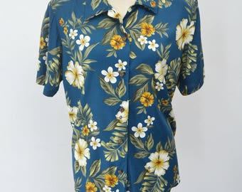 IOLANI Vintage IOLANI Floral Theme All Over Print Made In Hawaii 100% Rayon Button Down Hawaiian Shirt Size Women's L