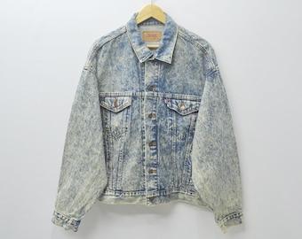 Levis Jacket Vintage 80's Levis Acid Washed Denim Jean Jacket Made in usa Size XL