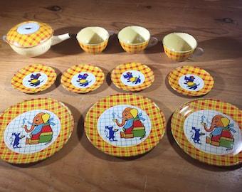 Vintage 1939 J. Chein Tin Litho Toy Tea Set