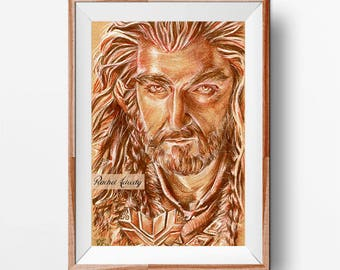 Thorin (Richard Armitage) from The Hobbit - Original Drawing ART PRINT