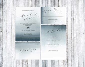 Printable Wedding invitation, Printable wedding invitation Suite, Wedding Invitation Template, Wedding invitation watercolor, Blue Wedding