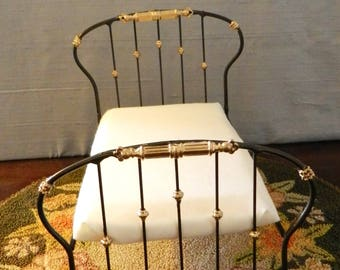 "Dollhouse Miniature Wrought Iron Look Bed ""DEIRDRE"" 1:12 Scale Twin and Full, Half Scale, Artisan Made"