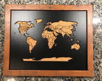 Beautiful framed wood cork world map 36x24 beautiful framed wood cork map 11 gumiabroncs Gallery