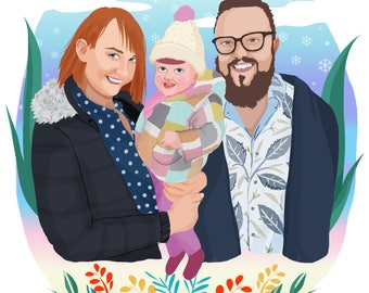 Family Portrait, Couple Portrait, Custom Portrait, Family Illustration,Personalized Drawing, Personalized Gift, Gift for Couple, Nursery Art