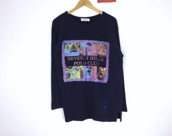 Rare!!! Vintage Beverly Hills Polo Club Sweatshirt Pullover Bevery Hills Polo Club Spellout Jumper Sweater Sportwear