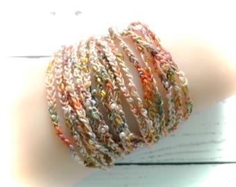 Multi strand bracelets,fall bracelets,cuff bracelets,Hand beaded crochet bracelet, crochet bracelet,gypsy jewelry,beaded bracelet,Fall color