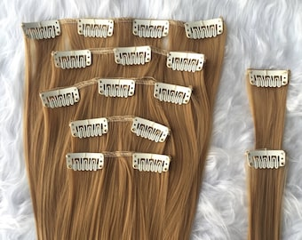 "22"" Honey Blonde hair extensions, strawberry blonde, clip in extensions, 7 piece set, clip on extensions, long and soft hair"