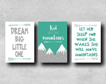 Nursery print set of three, available in male or female versions. Dr Seuss, quotes.