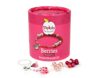 Berries Beaded Bracelet Pipkit Raspberry, Available in 3 colours, Contains all the Materials to Make 1 Bracelet