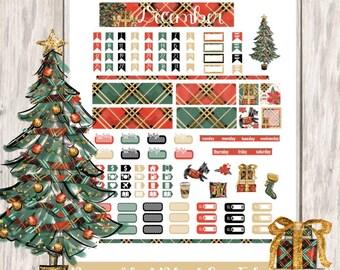 Noel Printable Planner Stickers/Pocket Travelers Notebook/Monthly Kit/Annie Plans Printable/Winter December Glam Christmas Tree Presents
