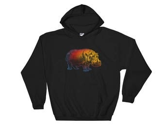 Colorful Hippo Hooded Sweatshirt Hoodie