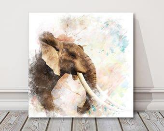 elephant painting portrait.  Canvas Print . Safari picture