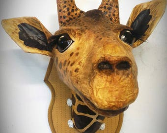 UNIQUE piece available - Trophy decorative handmade giraffe head.
