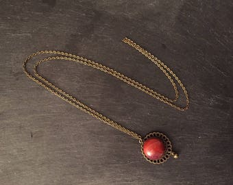 Necklace with red Jasper cabochon.
