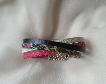 Cuff Bracelet leather cords 4 entwined
