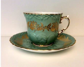 Aynsley Green and Gold Bone China Tea Cup and Saucer