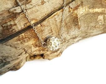 White shamballa bead, chain pendant necklace