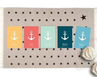 "5 cards with words ""sweet"" anchor who feel the summer!"