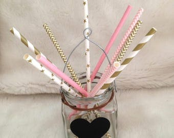 10 straws cardboard current patterns, your pink and gold - ideal for birthdays