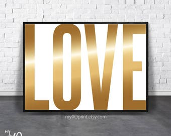 Gold Love Print, Love Art Word, Love Wall Art Print, Printable Love Gift