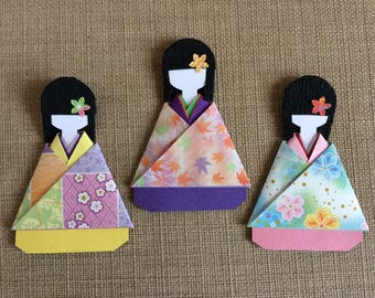 Japanese kimono girl present topper/party favour (pack of 3)