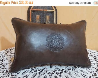 Moroccan leather pillow  handmade leather Pillows brown